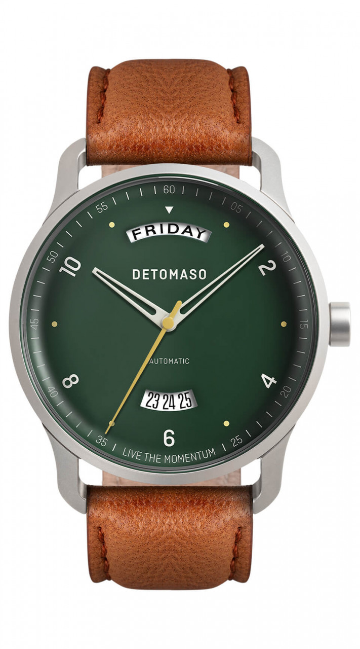 VIAGGIO AUTOMATIC GREEN - LEATHER STRAP BROWN