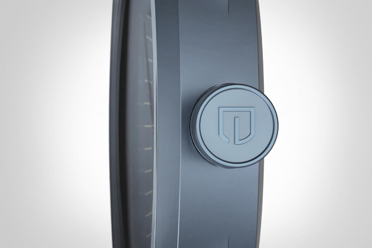 PARTENZA BLUE - LEATHER STRAP GREY