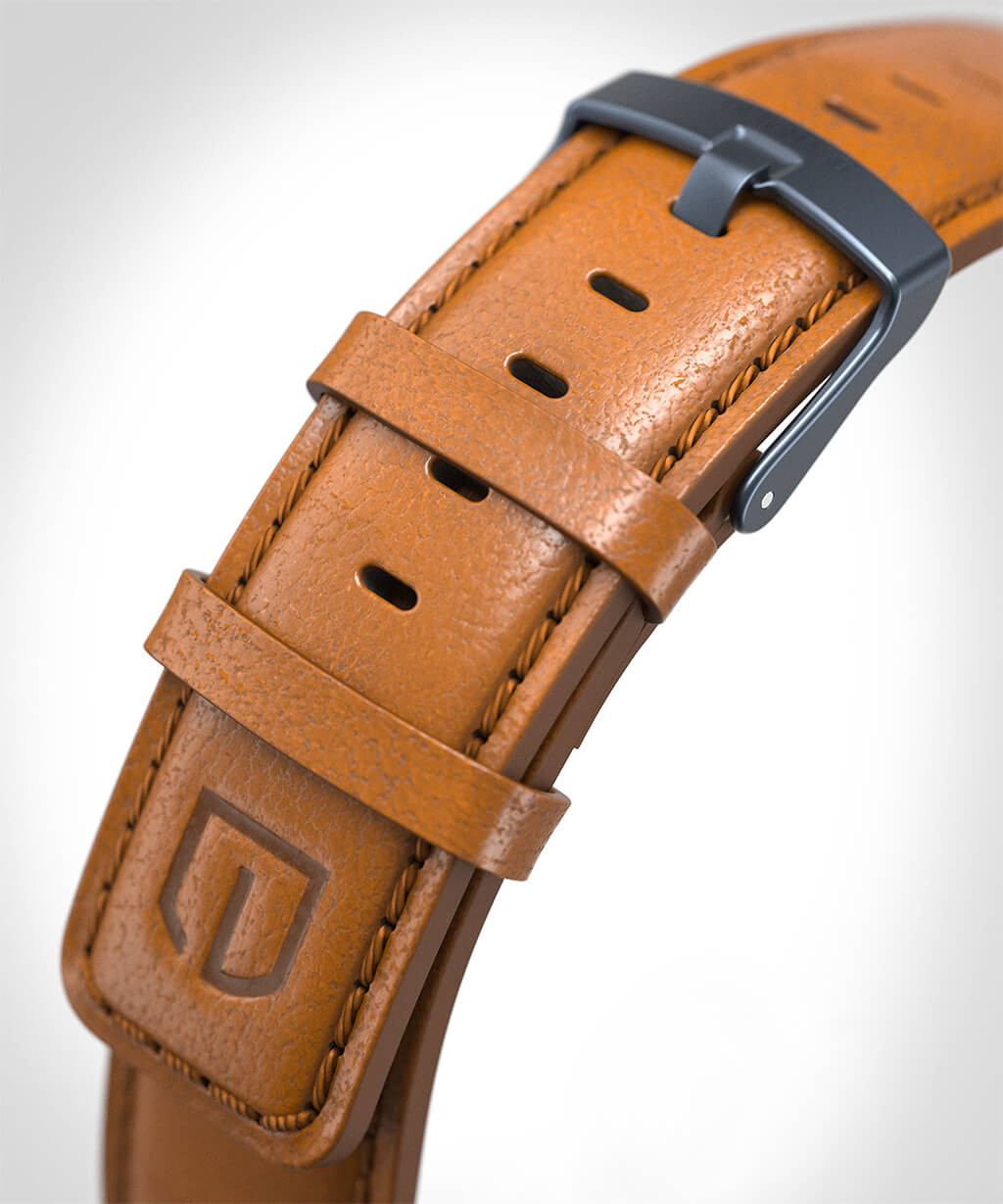 LEATHER STRAP BROWN brown - buckle: blue