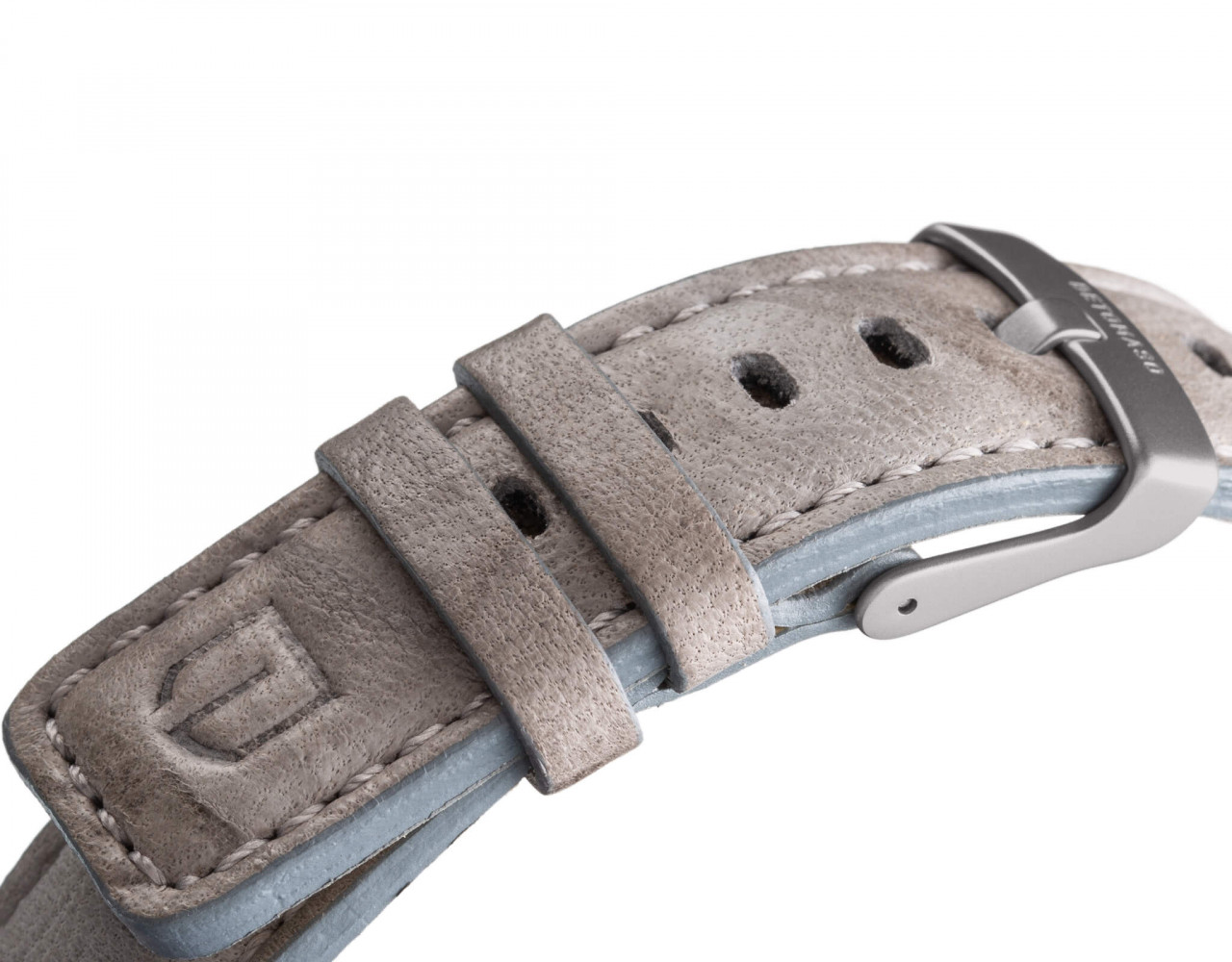 LEATHER STRAP GREY grey - buckle: grey