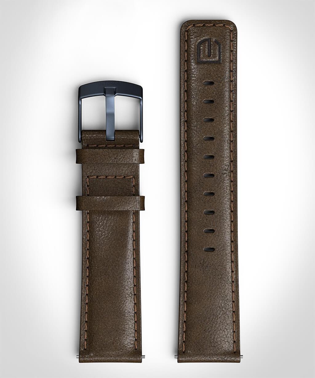 LEATHER STRAP DARK BROWN dark brown - buckle: blue