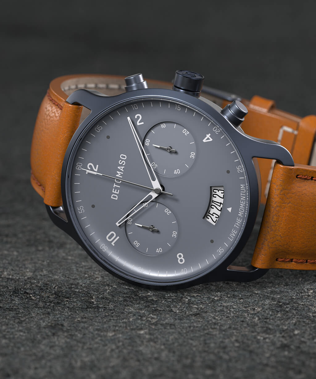 SORPASSO CHRONOGRAPH BLUE - LEATHER STRAP BROWN