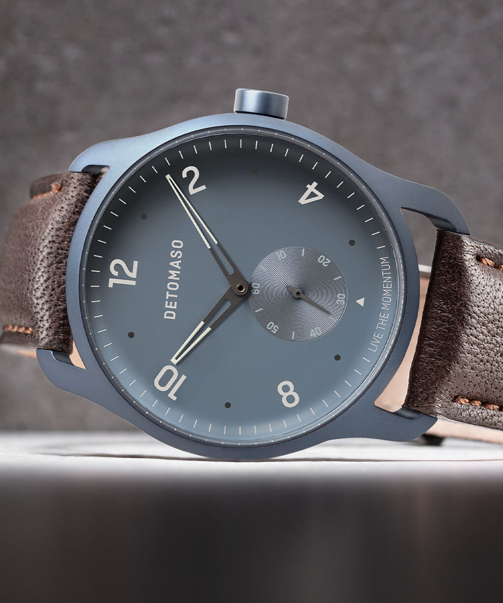 PARTENZA BLUE - LEATHER STRAP DARK BROWN