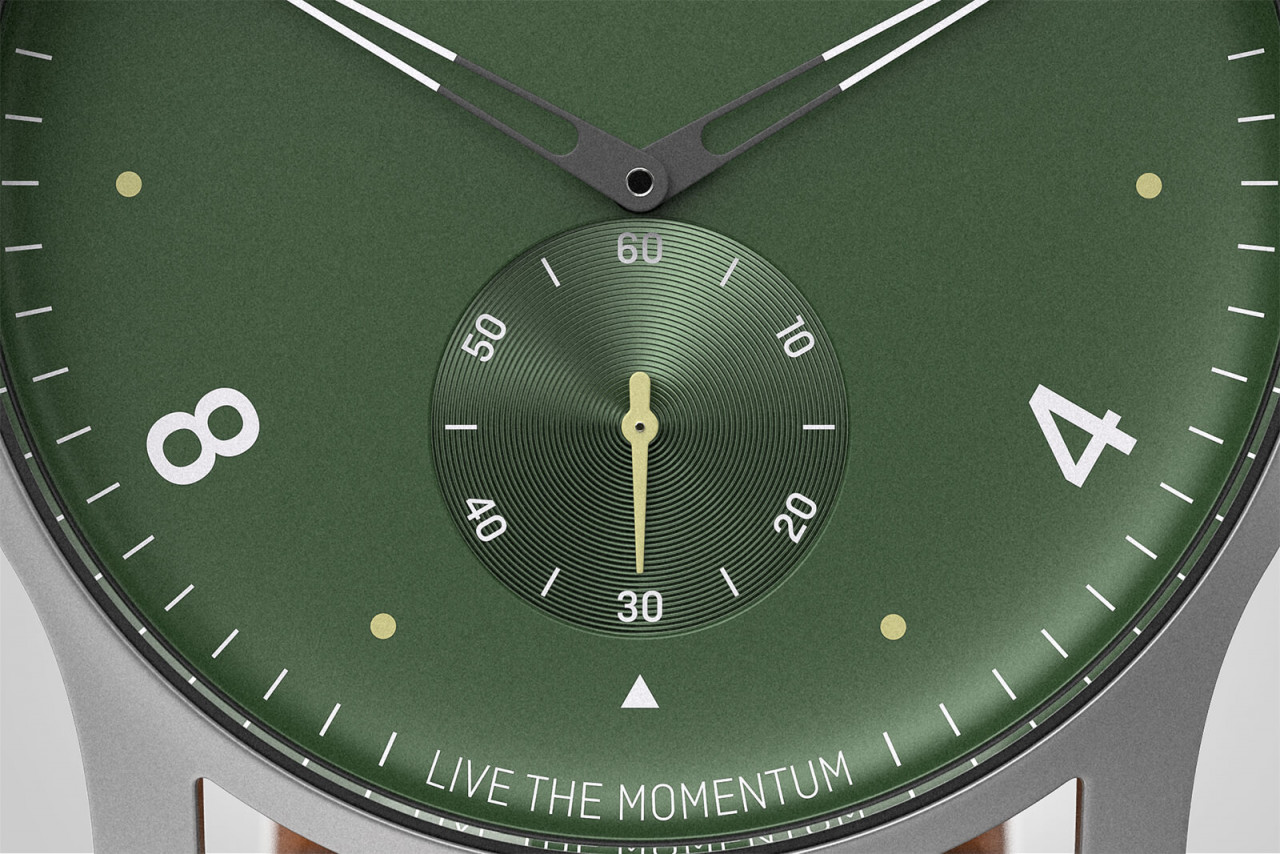 PARTENZA GREEN - LEATHER STRAP BROWN