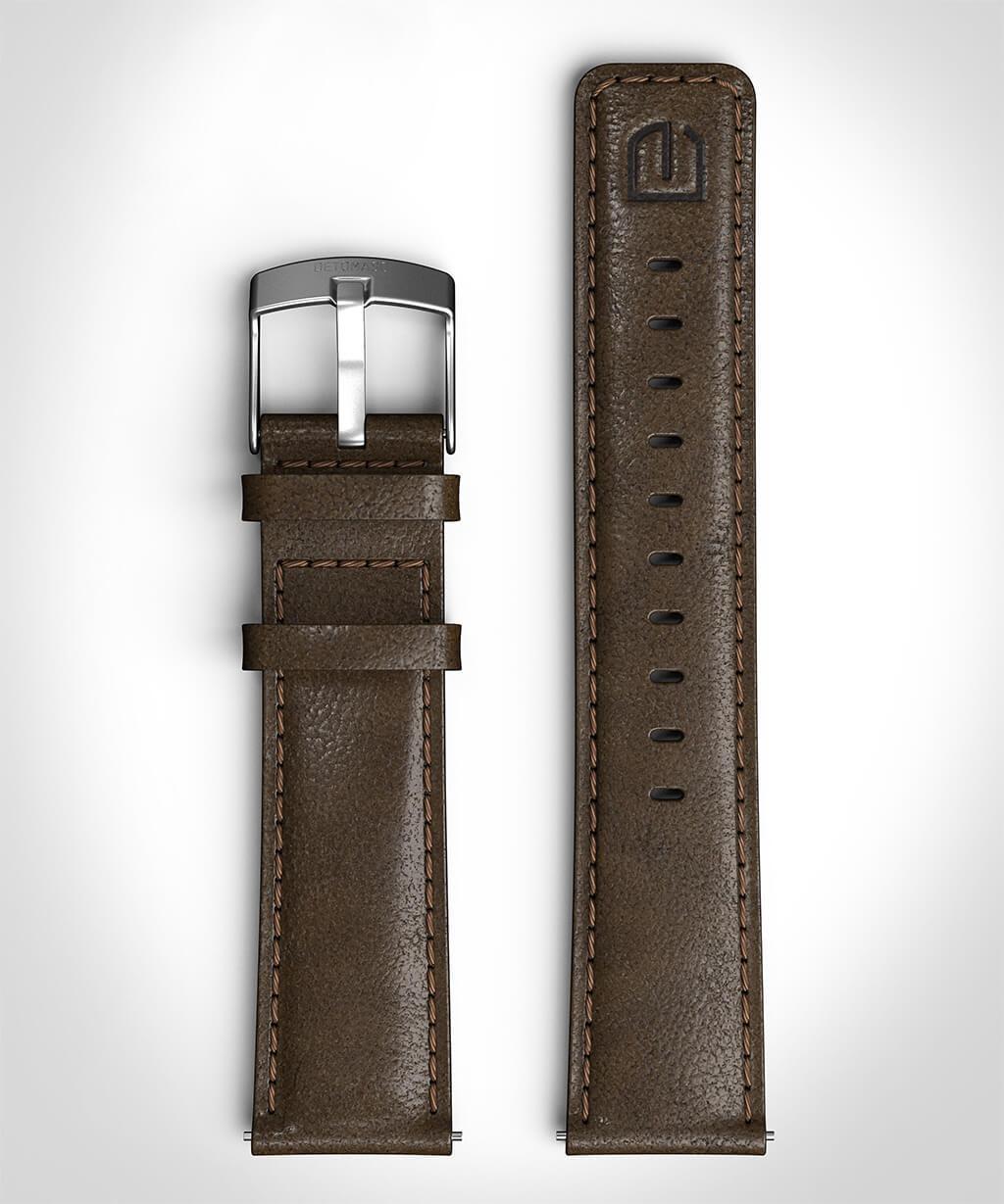 LEATHER STRAP DARK BROWN dark brown - buckle: silv