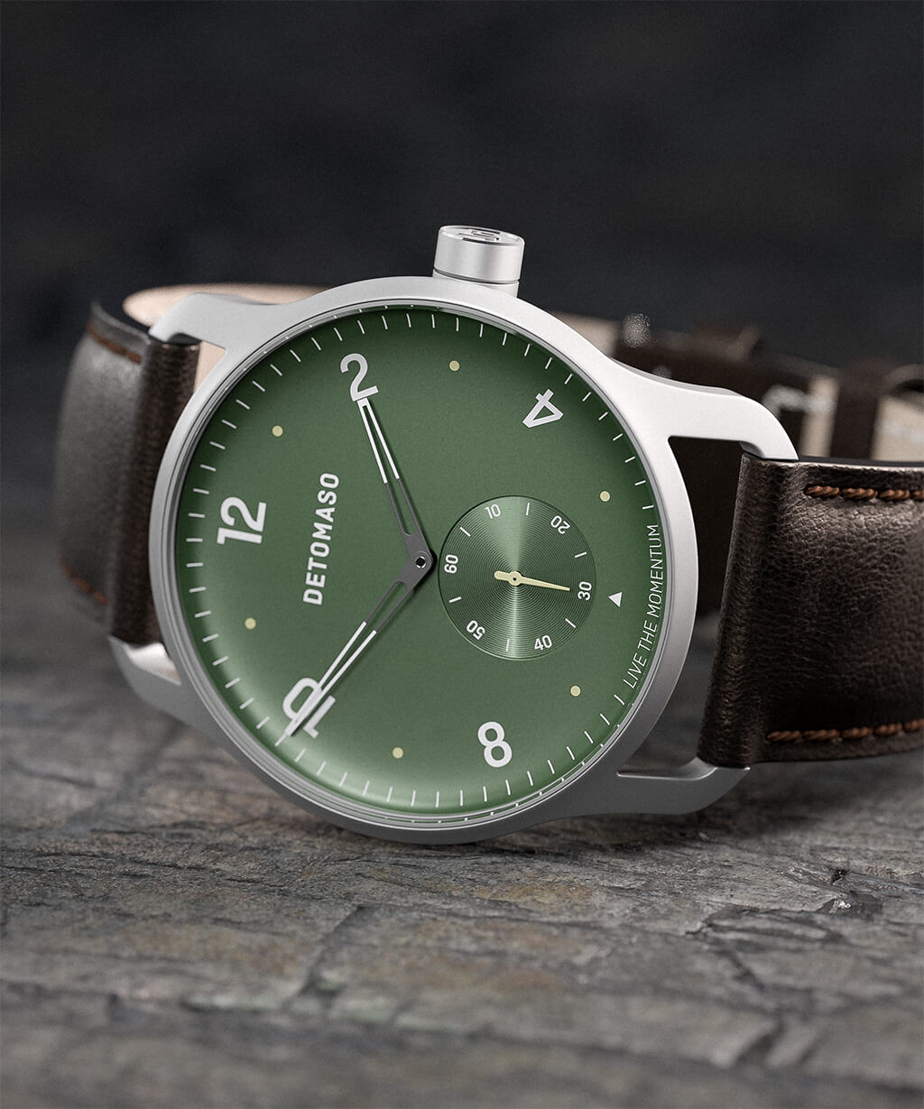 PARTENZA GREEN - LEATHER STRAP DARK BROWN